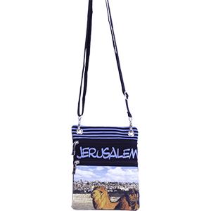 Blue Jerusalem Camel Passport Bag