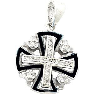 Jerusalem Cross with Cubic Zircon.