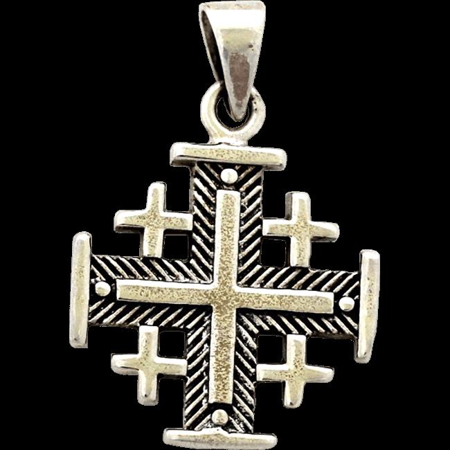 699b818a570e Cruz de Jerusalén en plata de primera ley. La combinación de la plata  oxidada en el fondo texturizado y la plata pulida de las cinco cruces  ofrece un ...