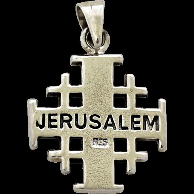 59210b671a73 Cruz de Jerusalén oxidada de plata de ley. Hecho a mano en israel.