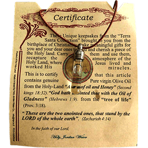 Galilee Olive Oil Necklace with Certificate of Authenticity