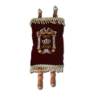 Torah Scroll with a Velvet Cover and Accessories, Deluxe Medium