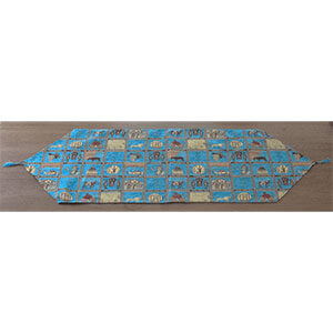 Symbolic Table Runner in Turquoise