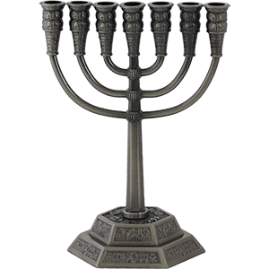 Pewter Plated Small Jerusalem Menorah