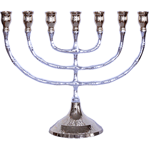 Medium Polished Plated or Brass Menorah, 5 metal options