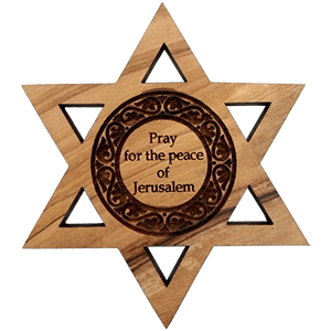 Pray for the Peace of Jerusalem Olive Wood David's Star Magnet
