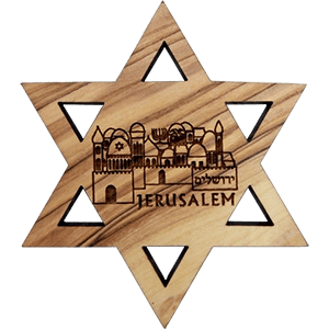 Artistic Jerusalem Olive Wood David's Star Magnet