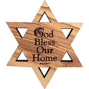 God Bless Our Home Olive Wood David's Star Magnet