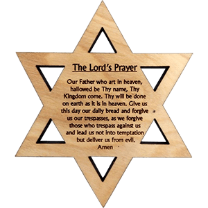 The Lords Prayer Olive Wood David's Star Magnet