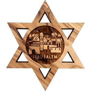 Jerusalem Olive Wood David's Star Magnet
