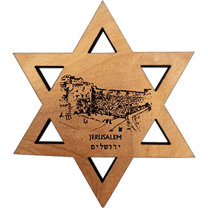 Western Wall Olive Wood David's Star Magnet