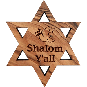 Shalom Y'all David's Star Olive Wood Magnet