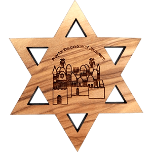Psalm 122:6 & Jerusalem David's Star Olive Wood Magnet