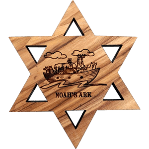 Naoh's Ark David's Star Olive Wood Magnet