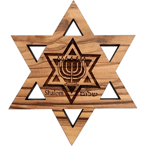 Judaic Symbols David's Star Olive Wood Magnet