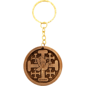 Jerusalem Cross Olive with Dove Wood Keychain