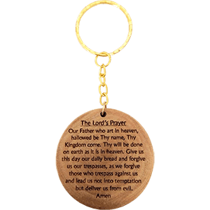 The Lord's Prayer Olive Wood Keychain