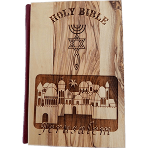Grafted In Olive Wood Covered Holy Bible in English