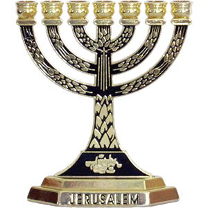 Small Jerusalem Menorah, Yellow Metal