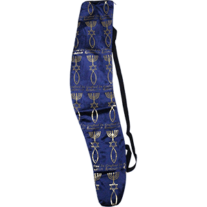 Grafted In Blue and Gold Velvet Shofar Bag