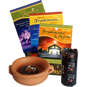 SAVE 15%! Complete Set of Biblical Incense plus Censer and Charcoal