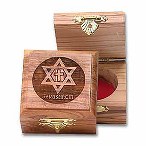 Decorative  Olive Wood Box of Messianic Star