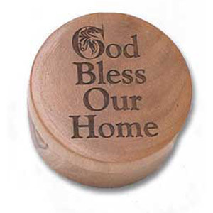 God Bless Our Home Round Olive Wood Box