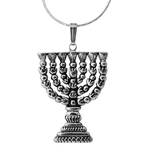Rafael Jewelry Sterling Silver Temple Menorah Necklace