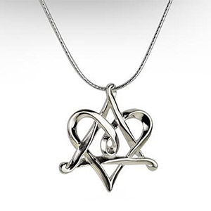 Rafael Jewelry Silver Star of David Heart Intertwined