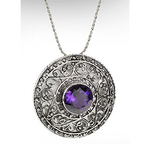 Rafael Jewelry Silver Filigree Medallion with Amethyst