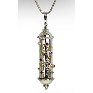 Rafael Jewelry Silver Mezuzah with 9kt Gold Vines and Rubies