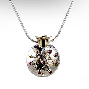 Rafael Jewelry Silver Pomegrante with 9kt Gold Leaves and Rubies