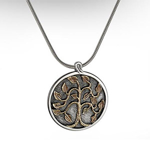 Rafael Jewelry Silver Disk with 9kt Gold Tree of Life