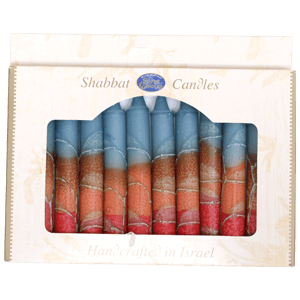 12 Blue and Red Handmade Shabbat Candles