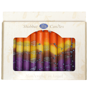 12 Multi Colors Handmade Shabbat Candles