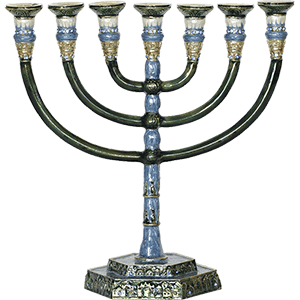 Brass Menorah with Light Blue Enamel