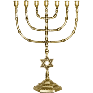 Tall Brass Star of David Menorah