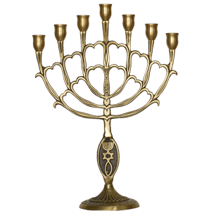 Brass Inverted-V Messianic Menorah