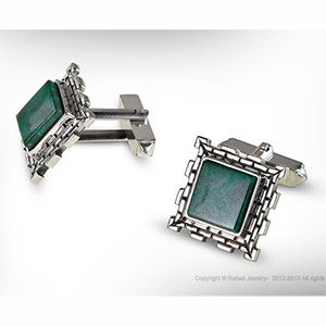 Rafael Jewelry Square Jerusalem Wall Sterling Silver Eilat Stone Cufflinks