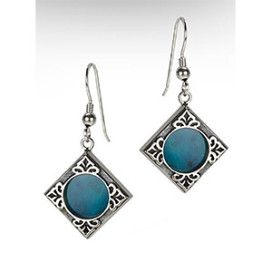 Rafael Jewelry Silver Ornamental Fleur-de-lys Eilat Stone Earrings