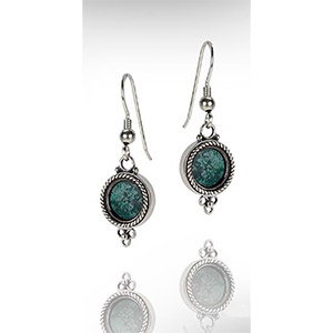 Rafael Jewelry Silver Small Dangling Eilat Stone Earrings