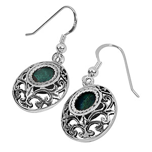 Rafael Jewelry Silver Filigree Round Eilat Stone Earrings