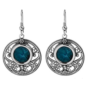 Rafael Jewelry, Silver Filigree Large Round Eilat Stone Earrings