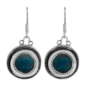 Rafael Jewelry Silver Medallion Eilat Stone Earrings