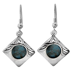 Rafael Jewelry Silver Rhombus Wave Eilat Stone Earrings