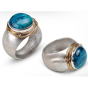 Rafael Jewelry Silver Hammered with Goldfilled Wire and Eilat Stone Ring