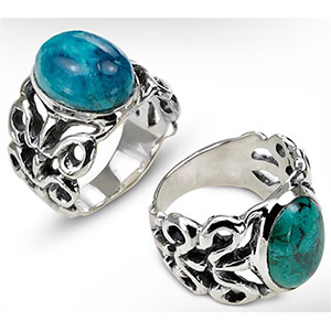Rafael Jewelry Silver Curls with Oval Eilat Stone Ring