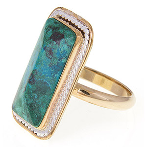 Rafael Jewelry Gold-filled with Silver Rope Eilat Stone Ring