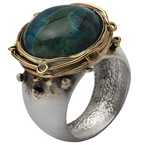 Rafael Jewelry Silver and Gold-fill Rustic Eilat Stone Ring