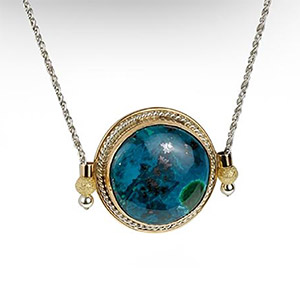 Rafael Jewelry Silver Suspended Round Pendant with Gold-fill and Eilat Stone
